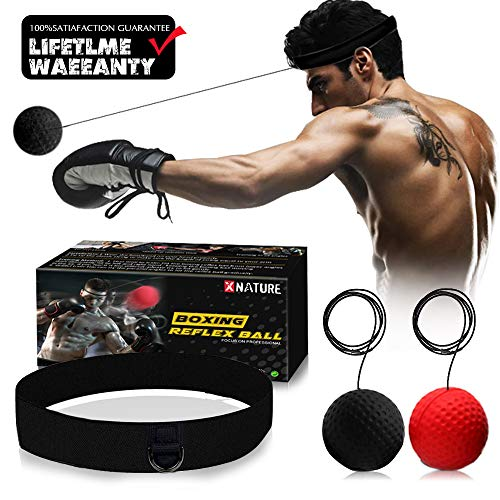 XNATURE Boxing Reflex Ball Gear,2 Colors Boxing Ball with Headband, Perfect for...
