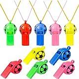 Fiyuer Silbato Futbol 50 Silbato plastico con Cordón para Deporte Escolar Niños (Color al Azar)