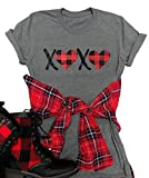 Valentine's Day XOXO Plaid T Shirt Womens Heart Print Short Sleeve Tops Cute Letter Graphic Tees T-Shirts Size L (Gray)