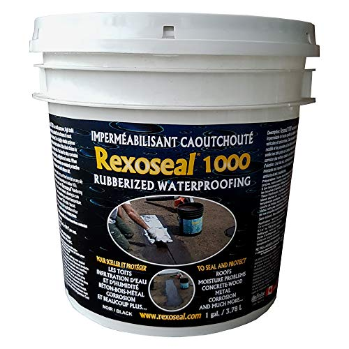 Rexoseal 1000 Waterproofing Sealant - Multi-Purpose Indoor & Outdoor Coating Sealant - Foundations & Basements, Flat & Low Slope Roofs, Concrete, Wood & Metal - Black, 1 Gallon