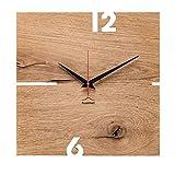 huamet. Wanduhr Holz Eiche Altholz PUHR, eckig - echtes Holz, einzigartiges Design, geräuschlos ohne Ticken - Qualitätsprodukt Made in Südtirol - CH51-A-00