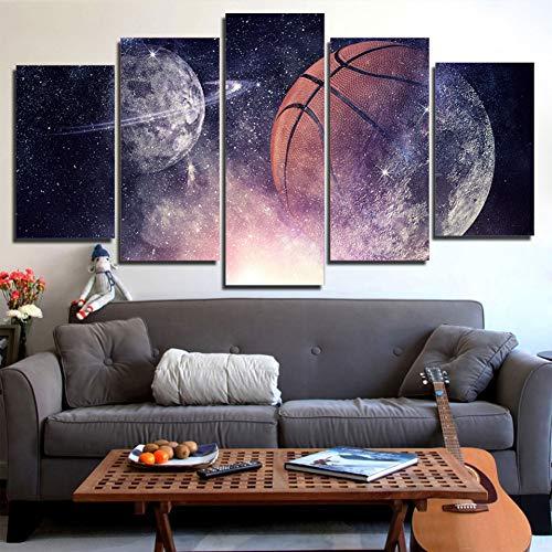 EXQART HD Drucke Poster Dekor Bilder Leinwand Modulare 5 Stücke Basketball Und Planeten Sternenhimmel Nachtsicht Gemälde Wandkunst 40x60cmx2 40x80cmx2 40x100cm