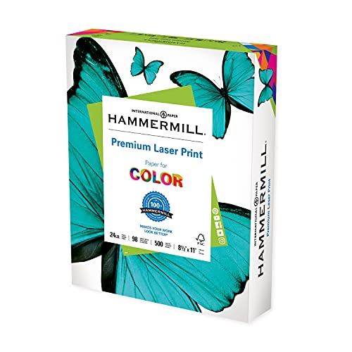 Hammermill Printer Paper, Premium Laser Print 24 lb, 8.5 x 11-1 Ream (500 Sheets) - 98 Bright, Made in the USA, 104604C