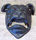 Bull Dog Pit Bull Cast Iron Open Mouth Wall Mounted Bottle Opener Bar Man Cave