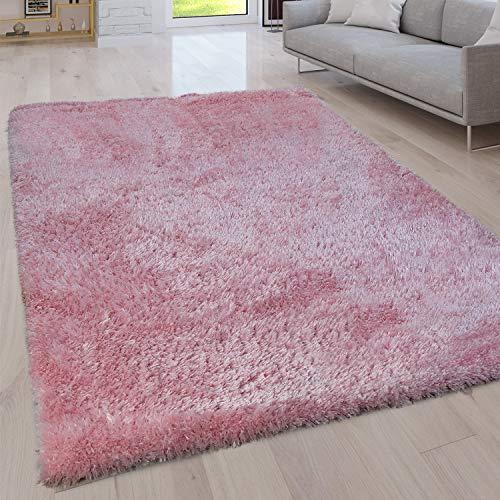 Paco Home Hochflor Wohnzimmer Teppich Waschbar Shaggy Uni In Versch. Größen u. Farben, Grösse:80x150 cm, Farbe:Pink