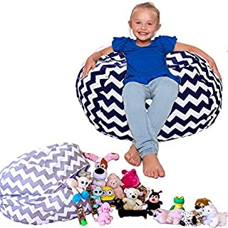 Lilly's Love Kids Bean Bag Chair Cover for Soft Stuffed Animal Storage (Navy)