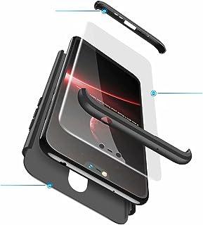 Jtailhne Kompatibel med Fodral Nokia X6 2018, 360° 3 i 1 hårt PC Tunn stöttåligt reptåligt Bumper case Svart & 2X HäRdat G...
