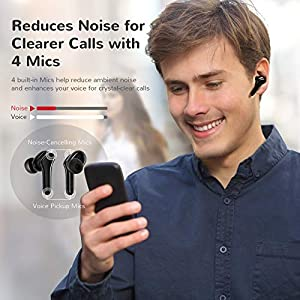 Letsfit T26 Active Noise Cancelling Truly Wireless Earbuds, Bluetooth Headphones in-Ear with Mic, Black
