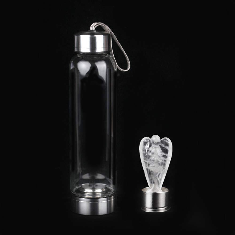 DingSheng - Botella de agua de cristal de cuarzo rosa natural ...