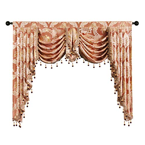 Golden Damask Jacquard Swag Waterfall Valance Luxury Curtain Valance for Living Room Rod Pocket Valance (Damask-Coffee, W59 Inch,1 Panel)