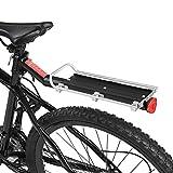 自転車リアキャリア 光反射板付きファスナーロープ付属 高強度アルミ合金製 組み立ちやすい 最大9kgの荷重 シートポストの直径が33mm以下のマウンテンバイクやロードバイクに適用