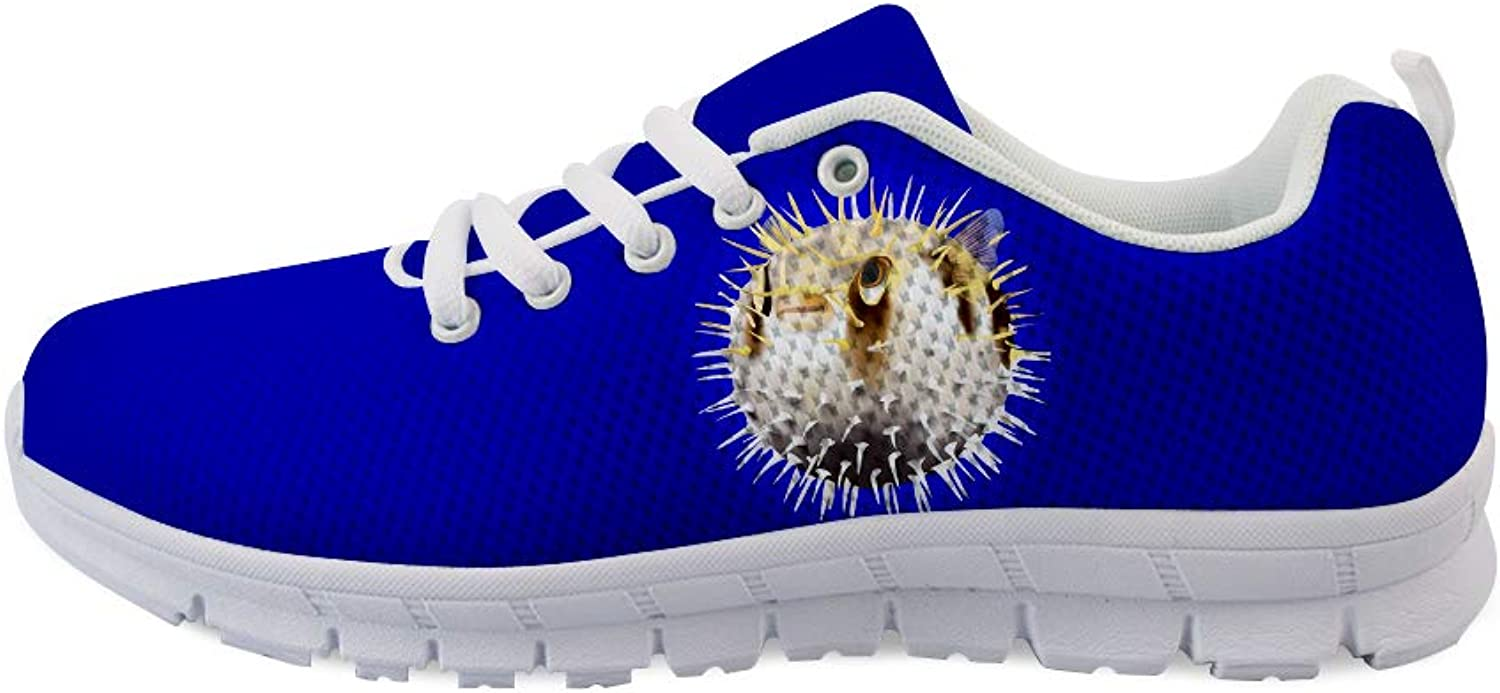 Owaheson Laceup Sneaker Training shoes Mens Womens Spiked Blowfish Puffer Fish