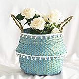 Blumenkorb Natürliche Farbe Seegras Weidenkorb Blumentopf Hängen Faltkorb Wassergewaschen Schmutziger Korb Aufbewahrungsdekoration Für die Dekoration im Freien
