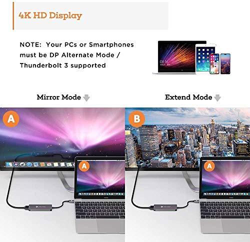 NOVOO USB C Hub (5 in 1) Aluminium mit HDMI 4K Adapter, USB 3.0 Anschlüsse, 1 SD und 1 microSD Kartenleser für MacBook Pro 2015/2016/2017, neues MacBook 12-Zoll, Chromebook und mehr Type-C Geräte