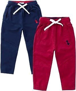 IjnUhb Baby Boy's 2-Pack Pants, Toddler Cotton Pull on Jogger, Kids Dinosaur Drawstring Elastic Sweatpants