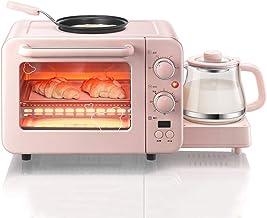 Mini Horno Electrico YLCJ, Frito/Horneado/Cocinado 3 En 1 MáQuina De Desayuno De Acero Inoxidable Rosa, RáPido/Delicioso,Café,Leche,BBQ(Con Bandeja Antiadherente + Olla De Bebida Caliente)