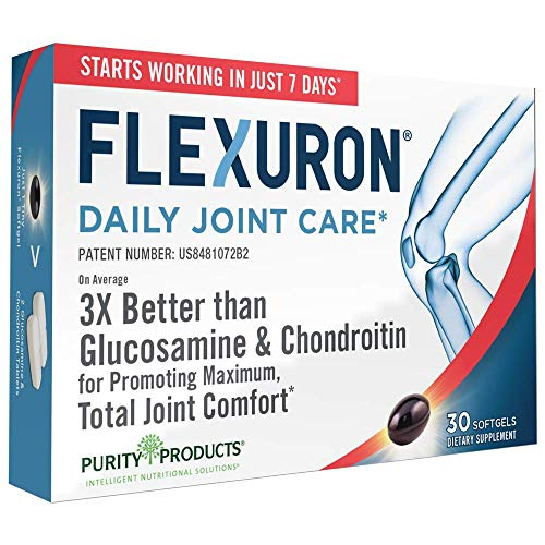 Flexuron Joint Formula by Purity Products - 3X Better Than Glucosamine and Chondroitin - Starts Working in just 7 Days - Krill Oil, Low Molecular Weight Hyaluronic Acid, Astaxanthin - 30 Count (1)