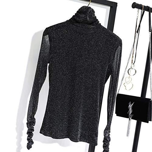 EIJFKNC Camisetas femeninas para mujer, de manga larga, sexy, color dorado, plateado, de alambre, de cuello alto, delgada, color negro, M