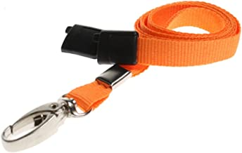 ID Card It ID Badge Holder Orange Neck Strap Safety Breakaway Lanyard with Solid Metal Lobster Clip - 1