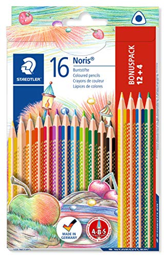 Staedtler 127 NC12P1 Buntstifte Noris Club (erhöhte Bruchfestigkeit, dreikant, ABS-System, kindgerecht nach DIN EN71, PEFC-Holz, Made in Germany, Set mit 12+4 brillanten Farben)