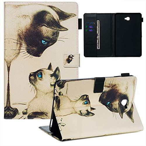 Careynoce Samsung Galaxy Tab A 10.1 2016 Funda,Tigre Gato Sol Panda Pattern PU Cuero Cover Stand Flip Funda Carcasas para Samsung Galaxy Tab A 10.1' SM-T580/T585 2016 Tableta Funda - Gato