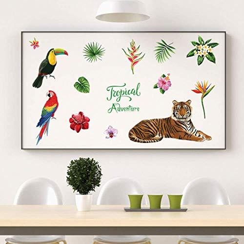 Muurstickers, Bos Tijger Dier Plant Olifant Versiering Schilderij Zitkamer Slaapkamer Studie Achtergrond Wanddecoratie