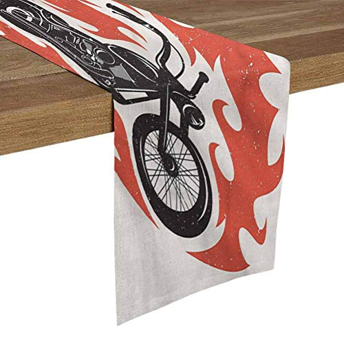 Print Table Runner 12x72 Inch Retro Poster,Chopper Flames Classic Classic Tabletop Collection for Family Dinners,Special Occasions,Barbeques,Picnics and Everyday Use,Machine Washable,Table Runner