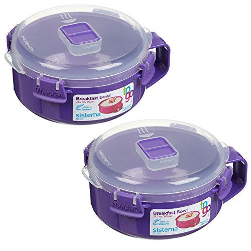 Sistema To Go Collection Microwave Breakfast Bowl (2 Pack) 28.7 Ounce/ 3.6 Cup, Blue or Lime or Pink or Purple