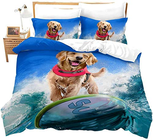 WEDSGTV Duvet Covers Pillowcases 3 Sets 100% polyester cotton, blue ocean golden retriever animal surf Duvet Cover Bedding Set With Matching Pillow Cases | DIY Print | Polycotton Super Soft Materia