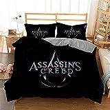 Ntioyg Kids 3D Assassin's Creed Cartoons Bedding Sets Queen Duvet Cover Sets for Boys Girls Bed Set Super Soft Microfiber Comforter Cover 3Piece(NO Comforter) 1 Duvet Cover + 2 Pillow Shams