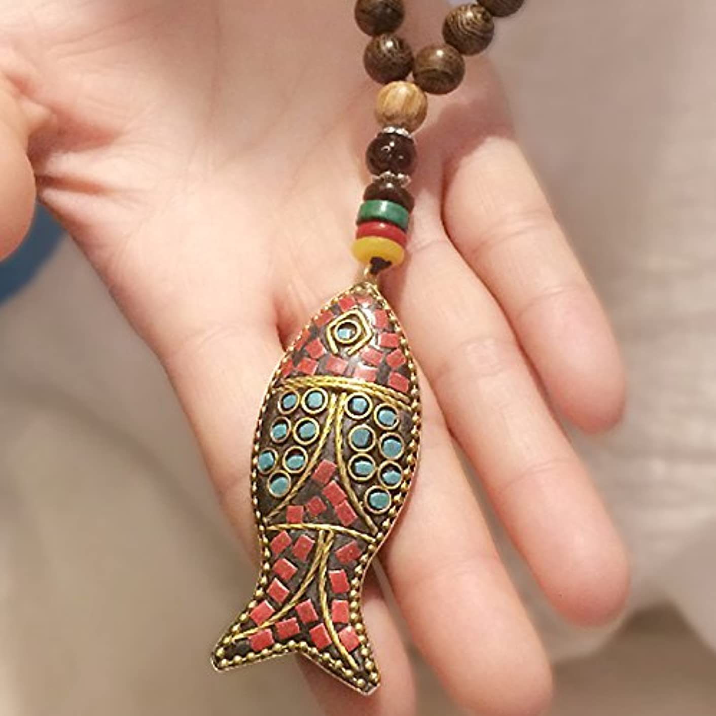Generic national _Wind_ Retro autumn _Nepal_ jewelry _horn_ necklace Pendant s_ necklace Pendant _wooden_fish_ beads sweater chain necklace Pendant long _section men women rmivopyb83187272