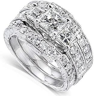 Kobelli Princess Diamond Wedding Ring Set 1 7/8 carats (ctw) in 14K White Gold (3 Piece Set)