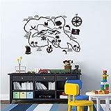 Divertido mapa de aventuras pegatinas de pared mapa pirata tesoro habitación de los niños pegatina artística de jardín de infantes Mural desmontable A5 40x59cm