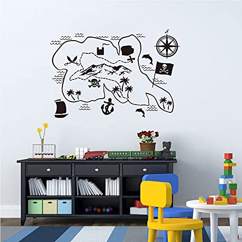 Fun Adventure Map Adesivi murali Mappa dei pirati Tesoro Camera dei bambini Scuola materna Art Sticker Murale staccabile Altro colore 40x59cm