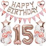 Ouceanwin 15 Cumpleaños Decoraciones Oro Rosa, Globos Numeros Gigante 15, Bandera de Globos Happy Birthday, Globos de Confeti, 15 años Fiesta de Cumpleaños Kit para Niñas y Mujeres