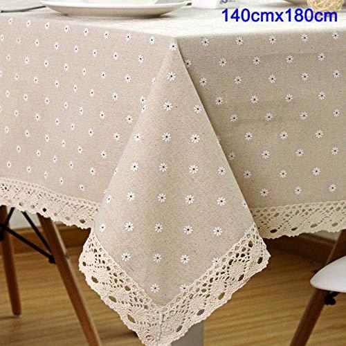 Okm, tovaglia in lino e cotone, motivo floreale 140 x 180 cm.