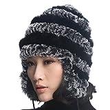 URSFUR Mujer Rex Rabbit Fur Knit Peruano Gorro Unisex Cálido earfalp esquí Cap