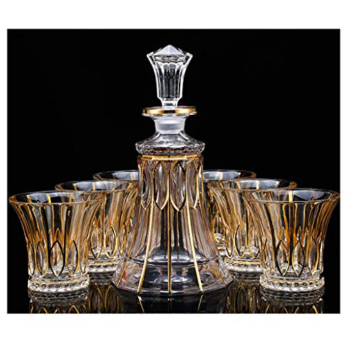 Zcxbhd 7-delige set kristallen glas wijnglas pak gouden rand Whiskey Cup glas wijnfles kruik wijnkelder 850ml/300ml