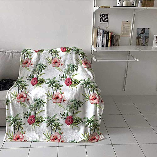 Throw Blanket Hawaii Easy to Store and Carry with Aquarelle Effect Palm Trees Hibiscus Flowers Romantic Summer Bloom for University Flat Pale Pink Ruby Reseda Green 60x90 Inch