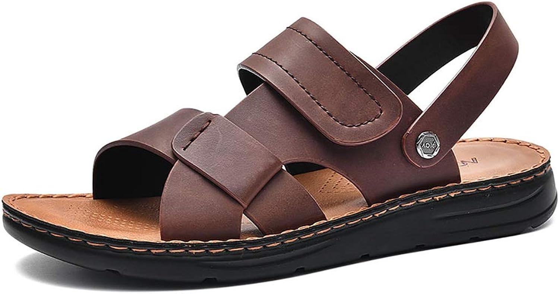 LQ Men's sandals 2.4cm polyurethane sole sandals, soft leather leaking toe multi-color optional beach shoes, leather sandals and dual-purpose shoes (color   B, Size   45)