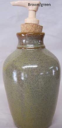 Handmade pottery lotion and liquid soap dispenser with pump