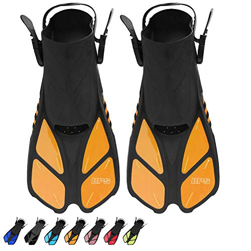BPS Short Adjustable Swim Fins - Open-Toe and Open-Heel Design - for Free Diving, Snorkeling, Scuba Diving - Swimming Flippers for Kids and Adults - for Men and Women (Orange - XXS/XS)
