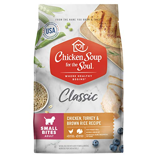 Chicken Soup for The Soul Small Bites Dog Food, Chicken, Turkey & Brown Rice Recipe, 4.5 lb. Bag | Soy Free, Corn Free, Wheat Free | Dry Dog Food Made with Real Ingredients