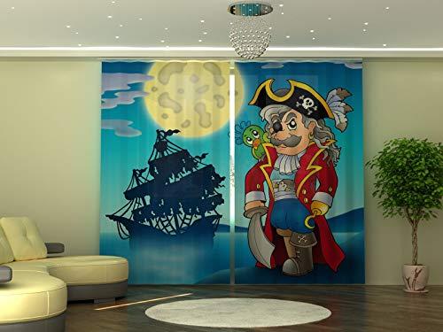 Wellmira - Tenda con Stampa Fotografica Pirata, 245 x 290 cm, Oscurante, pronta da Appendere, Motivo: Pirati