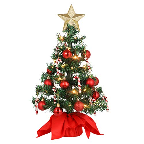 VALICLUD 20 inch Mini Artificial Tabletop Christmas Tree with Ornaments & LEDs String Light Star treetop Red Ball Cane, Christmas Tabletop Desktop Decorations for Home Party Supplies