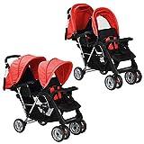 vidaXL 10111 - Silla de paseo para gemelos, color rojo