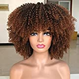 ANNISOUL Afro Bomb Curly Wigs for Black Women Short Afro Kinky Curly Wig with Bangs 14inch Natural LookIng Ombre Brown Synthetic Heat Resistant Full Curly Wig