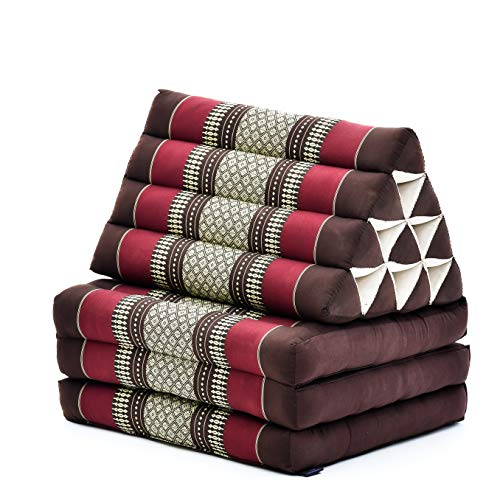 Leewadee Foldout Triangle Thai-Cushion Floor-Seat with Back-Rest TV Pillow Lounge-r Foldable Out-Door Mattress, 170x53x30 cm, Kapok, brown red