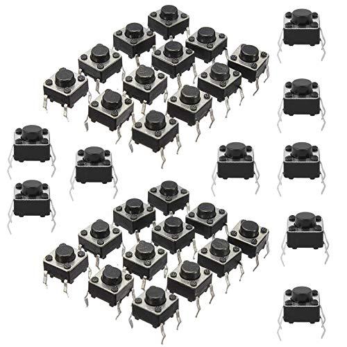 HUAYAO 200Pcs 4Pin Mini Micro Interruptor de Botón Táctil Momentáneo para Placas de Pruebas, Mini Pulsador Táctil (6 * 6 * 5 mm)
