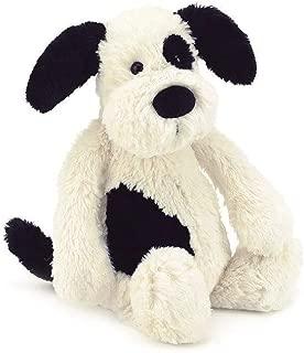 Jellycat Bashful Black and Cream Puppy Stuffed Animal, Medium, 12 inches